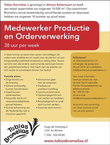vacature medewerker productie orderverwerking